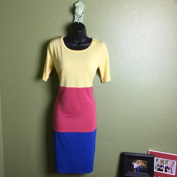 LuLaRoe Dresses & Skirts - 🌈 LuLaRoe Color Block Pink Blue Julia Dress 🌈